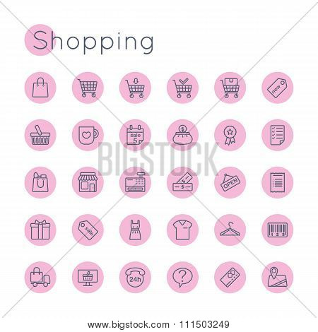 Vector Round Shopping Icons