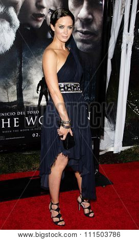 Emily Blunt at the Los Angeles premiere of 'The Wolfman' held at the ArcLight Cinemas in Hollywood on February 28, 2010.