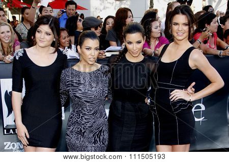 Kylie Jenner, Kourtney Kardashian, Kim Kardashian and Kendall Jenner at the Los Angeles premiere of 'The Twilight Saga: Eclipse' held at the Nokia Theatre L.A. Live in Los Angeles on June 24, 2010.