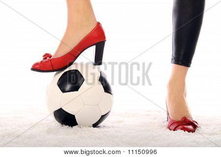high heels and football