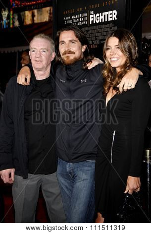 Christian Bale, Sibi Blazic and Dickie Eklund at the Los Angeles premiere of 'The Fighter' held at the Grauman's Chinese Theatre in Hollywood on December 6, 2010.