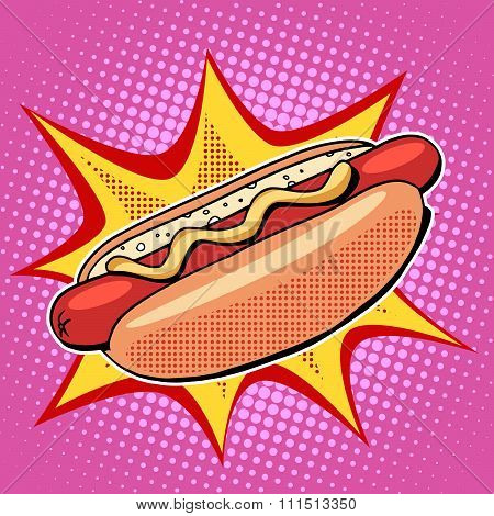 Hot dog fast food vector pop art style