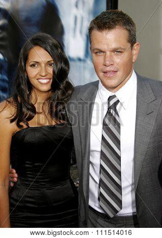 Matt Damon and wife Luciana Damon attend the Los Angeles Premiere of