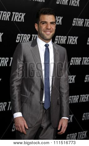 Zachary Quinto at the Los Angeles premiere of 'Star Trek' held at the Grauman's Chinese Theater in Hollywood on April 30, 2009.
