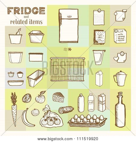 Fridge and related items
