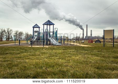 Smokestack Behind Playground