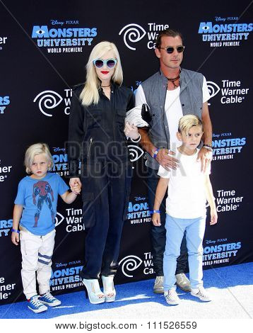 Gwen Stefani, Gavin Rossdale and sons Zuma and Kingston Rossdale at the LA Premiere of