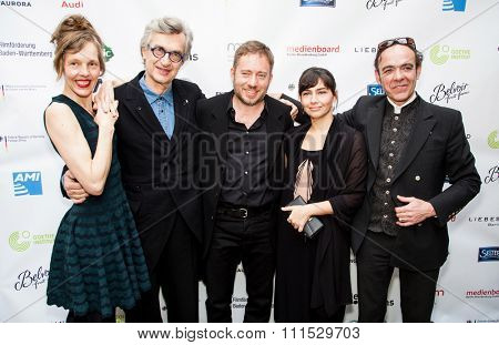 Juliano Ribeiro Salgado, Ivi Roberg, Laurent Petitgand, Wim Wenders and Donata Wenders at the Oscar nominees reception held at Villa Aurora in Pacific Palisades on February 21, 2015.