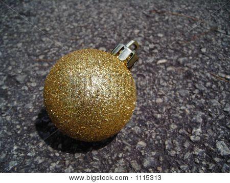 Closeup Christmas Gold Ball Decoration