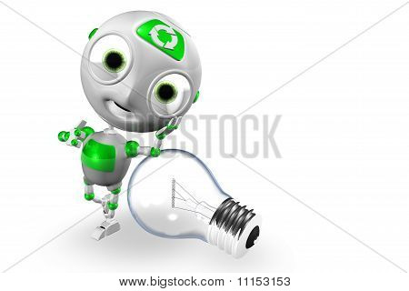 Envirobot And Bulb With Thumbs Up