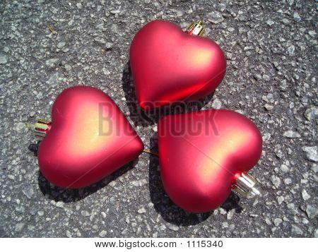 Closeup Of Three Hearts
