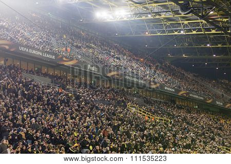 Dortmund Germany- December 10 2015: Interior view of the full Signal Iduna Park Stadium