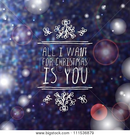 Winter greeting card with text on blurred background