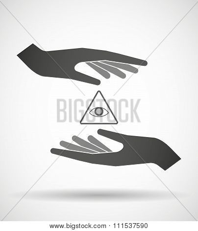 Two Hands Protecting Or Giving An All Seeing Eye
