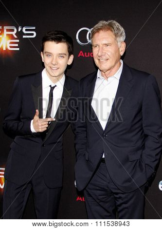 Harrison Ford and Asa Butterfield at the Los Angeles premiere of