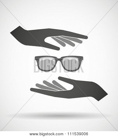Two Hands Protecting Or Giving A Glasses