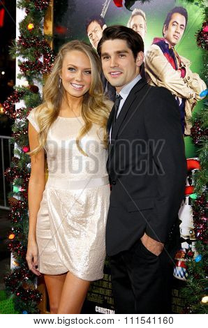 Melissa Ordway and Justin Gaston at the Los Angeles premiere of 'A Very Harold & Kumar 3D Christmas' held at the Grauman's Chinese Theater in Hollywood on November 2, 2011.