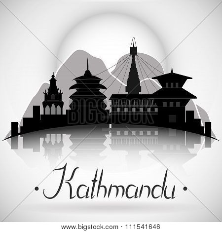 Kathmandu Nepal city skyline with reflection. Vector silhouette illustration