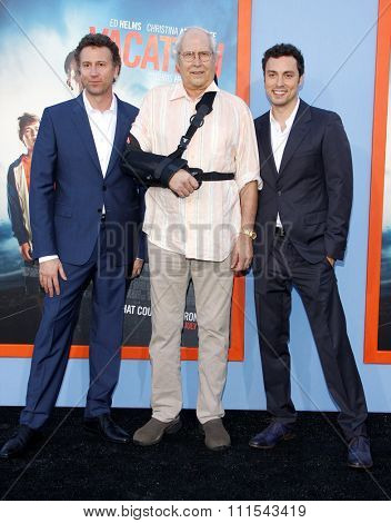Jonathan Goldstein, John Francis Daley and Chevy Chase at the Los Angeles premiere of 'Vacation' held at the Regency Village Theatre in Westwood, USA on July 27, 2015.