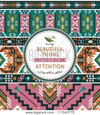 Seamless vector colorful pattern in tribal style