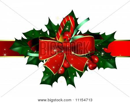 Christmas background with bow and hollyberry
