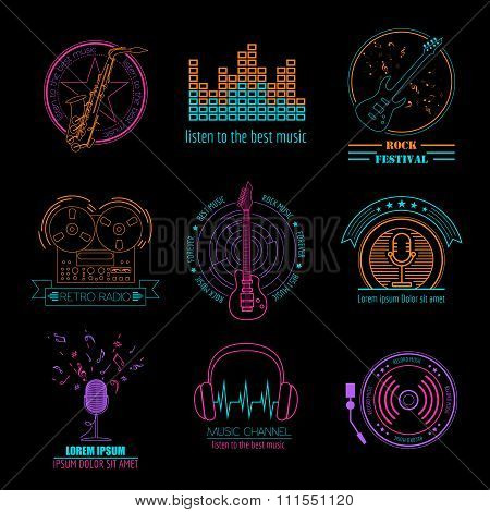 Music signs and instruments logos and badges. Graphic template