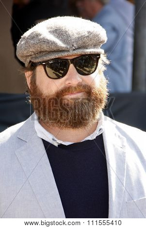Zach Galifianakis at the Los Angeles premiere of 'Puss In Boots' held at the Regency Village Theater in Westwood, USA on October 23, 2011.