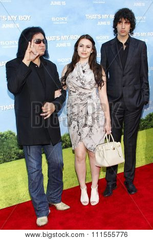 Gene Simmons, Nick Simmons and Sophie Simmons at the Los Angeles premiere of 'That's My Boy' held at the Westwood Village Theater in Los Angeles, USA on June 4, 2012.