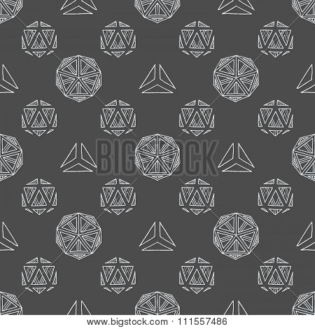 Hand Drawn Polyhedrons Seamless Pattern.