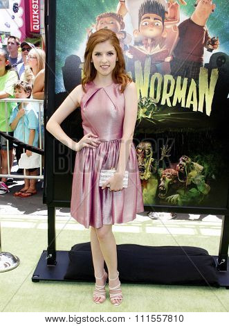 Anna Kendrick at the Los Angeles premiere of 'ParaNorman' held at the Universal CityWalk in Universal City, USA on August 5, 2012.