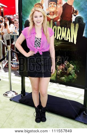 Taylor Spreitler at the Los Angeles premiere of 'ParaNorman' held at the Universal CityWalk in Universal City, USA on August 5, 2012.