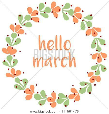 Hello march watercolor wreath vector card