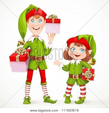 Cute Little Elfes Santa's Assistant Witha Gifts Isolated On A White Background