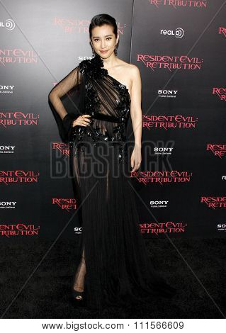 LOS ANGELES, CA - SEPTEMBER 12, 2012: Li Bingbing at the Los Angeles premiere of 'Resident Evil: Retribution' held at the Regal Cinemas L.A. Live in Los Angeles, USA on September 12, 2012.