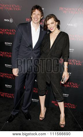 Milla Jovovich and Paul W.S. Anderson at the Los Angeles premiere of 'Resident Evil: Retribution' held at the Regal Cinemas L.A. Live in Los Angeles, USA on September 12, 2012.