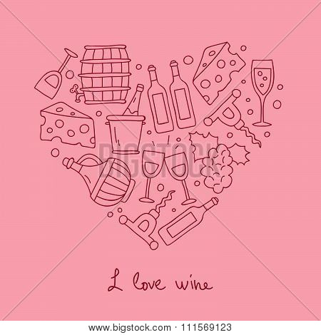 Wine icons in the shape of a heart