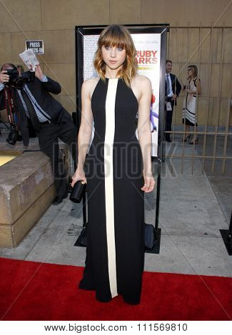 HOLLYWOOD, CA - JULY 19, 2012: Zoe Kazan at the Los Angeles premiere of 'Ruby Sparks' held at the Egyptian Theatre in Hollywood, USA on July 19, 2012.