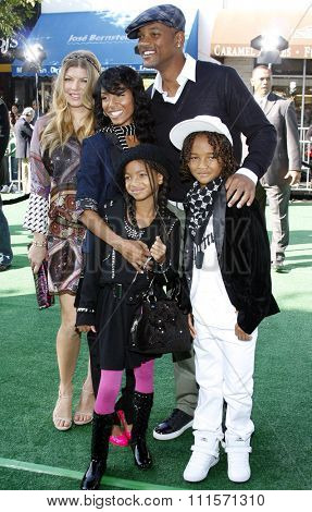 Jada Pinkett Smith, Will Smith, Willow Smith and Jaden Smith at the Los Angeles premiere of 'Madagascar: Escape 2 Africa' held at the Mann Village Theater in Westwood, USA on October 26, 2008.