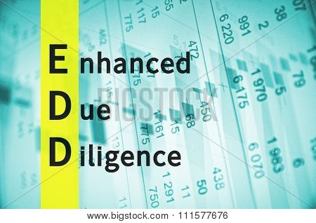 Acronym EDD as Enhanced Due Diligence. Financial data on the background. poster