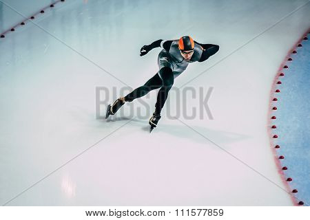 young athlete skater during race sprint distance