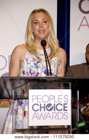 BEVERLY HILLS, CA - NOVEMBER 15, 2012: Kaley Cuoco at the People's Choice Awards 2013 Nominations held at the Paley Center in Beverly Hills, USA on November 15, 2012.
