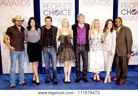 Jason Aldean, Casey Wilson, Jason O'Mara, Monica Potter, Fred Nelson, Kaley Cuoco, Sophia Bush, Anthony Anderson and Mark Burnett at the People's Choice Awards 2013 Nominations in Beverly Hills.