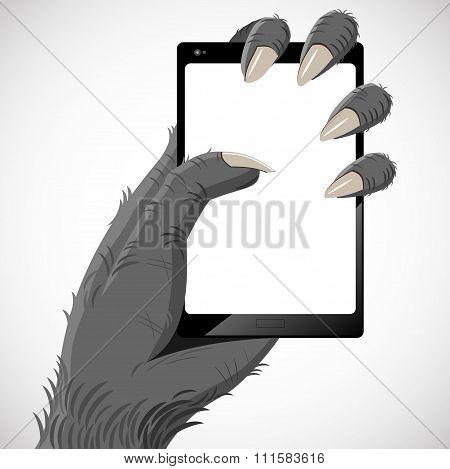 Gorilla and smartphone
