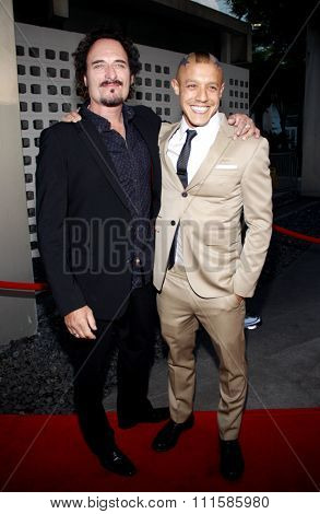 HOLLYWOOD, CALIFORNIA - August 30, 2011. Kim Coates and Theo Rossi at the Season 4 premiere of FX Network's