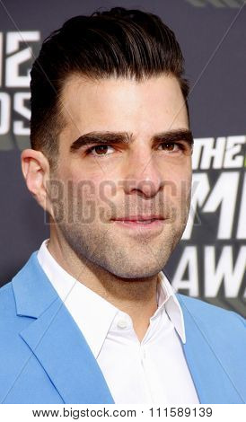 CULVER CITY, CA - APRIL 14, 2013: Zachary Quinto at the 2013 MTV Movie Awards held at the Sony Pictures Studios in Culver City, CA on April 14, 2013.