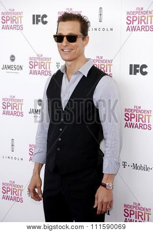Matthew McConaughey at the 2013 Film Independent Spirit Awards held at the Santa Monica Beach in Los Angeles on February 23, 2013.