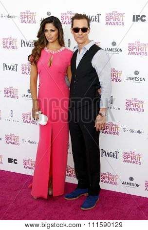 Camila Alves and Matthew McConaughey at the 2013 Film Independent Spirit Awards held at the Santa Monica Beach in Los Angeles, United States on February 23, 2013.