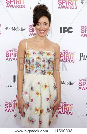 Aubrey Plaza at the 2013 Film Independent Spirit Awards held at the Santa Monica Beach in Los Angeles, United States on February 23, 2013.