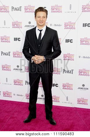 Jeremy Renner at the 2013 Film Independent Spirit Awards held at the Santa Monica Beach in Los Angeles, United States on February 23, 2013.