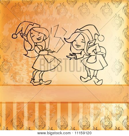 Elves Girl Card. Retro Style